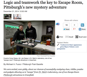 Escape Room PGH Post Gazette