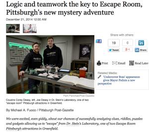 Escape Room PGH Post Gazette